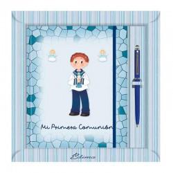 Diario Comunión más bolígrafo, niño de marinero sujetando una vela