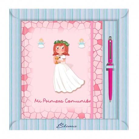 Diario Comunión más bolígrafo, niña sonriente con corona de flores