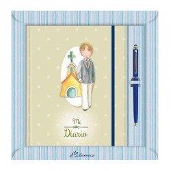 Diario Comunión más bolígrafo, niño con elegante traje