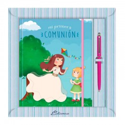 Diario Comunión más bolígrafo, niñas jugando con cometa