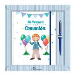 Diario Comunión más bolígrafo, niño sonriente saludando
