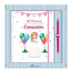Diario Comunión más bolígrafo, niña sonriente con globos