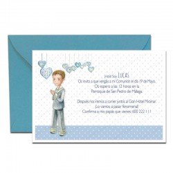 Pack 20 invitaciones Mi Primera Comunión niño con corazones más sobre azul