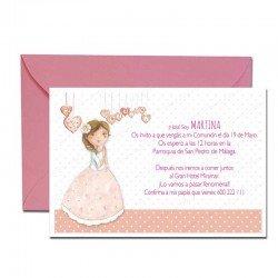 Pack 20 invitaciones Mi Primera Comunión niña con corazones más sobre rosa