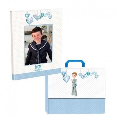Libro de firmas para Comunión personalizado con maletín, niño rezando