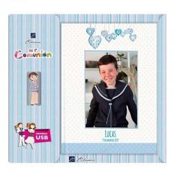 Libro de firmas Comunión personalizado con USB para niño, corazones