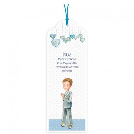 Pack punto de libro para comunión personalizado, niño corazones