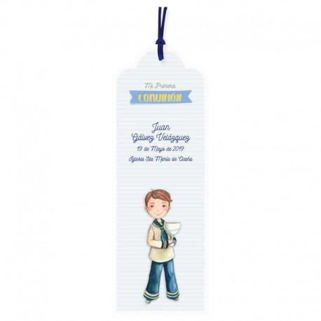 Pack punto de libro personalizado para Comunión niño marinero con Cáliz