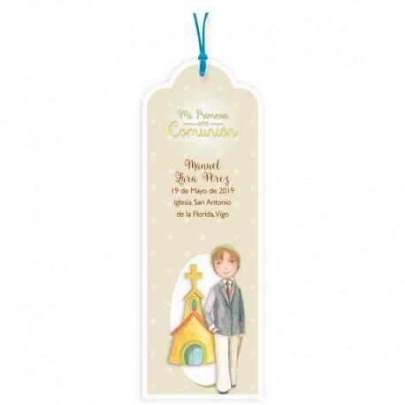 Pack punto de libro personalizado para Comunión niño traje y corbata