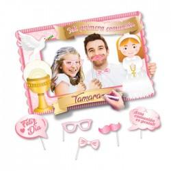 Marco photocall Comunión con accesorios, color rosa