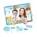 Marco photocall Comunión con accesorios, color azul