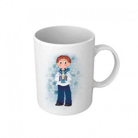 Taza personalizada para comunión, niño marinero con vela