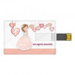 Tarjeta USB para comunión niña con corazones
