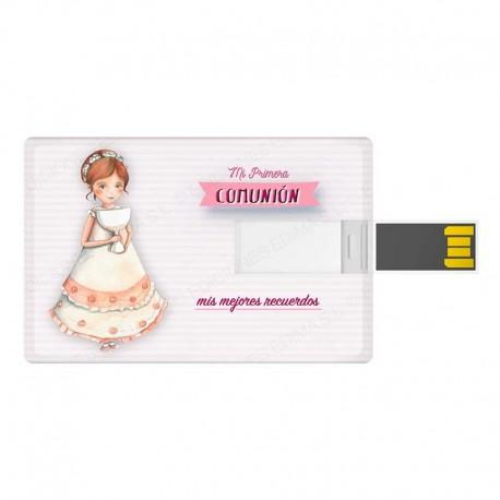 Tarjeta USB para comunión niña con Cáliz