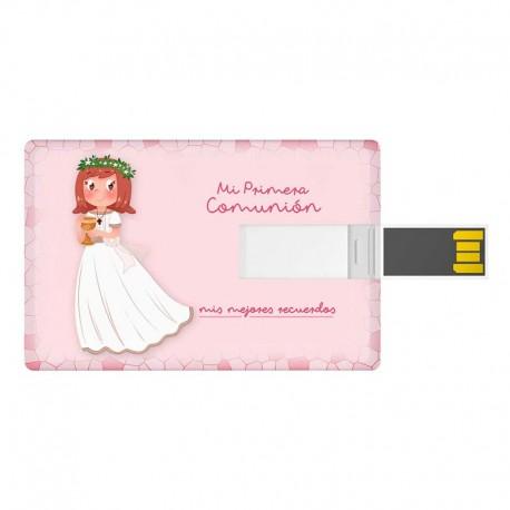 Tarjeta USB 16 GB, para comunión. Niña con Cáliz pequeño