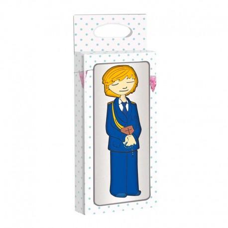 Memoria USB 4 GB, para comunión. Niño con traje de comunión azul marino