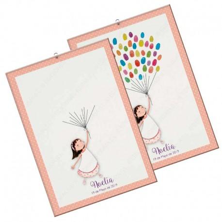 Arbol de huellas para comunión, niña con globos