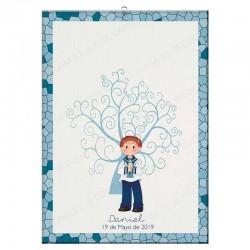 Árbol de huellas para comunión, niño marinero con vela