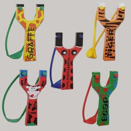 Tirachinas de madera con vistosos colores, safari