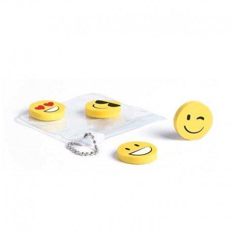 Set 4 divertidas gomas emoji en bolsita