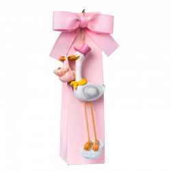 Imán cigüeña con bebé niña y caja alta con peladillas