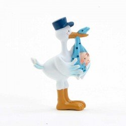 Imán cigüeña con gorra azul y bebé niño