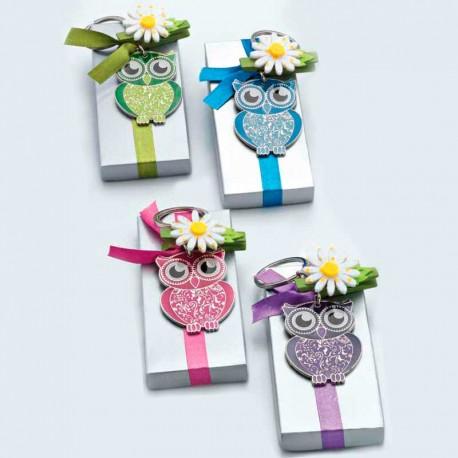 Llavero de metal con lima, Búho en caja plateada, lazo y pinza flor