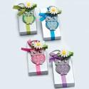 Llavero de metal lima Búho en cajita de plata, lazo y flor pinza