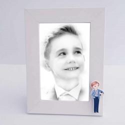 Marco de fotos madera blanco, niño con balón de fútbol
