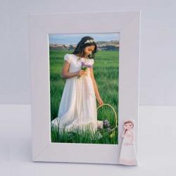Marco de fotos madera blanco, niña con trenza y flores