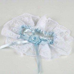 Liga novia combinada en blanco y azul cielo