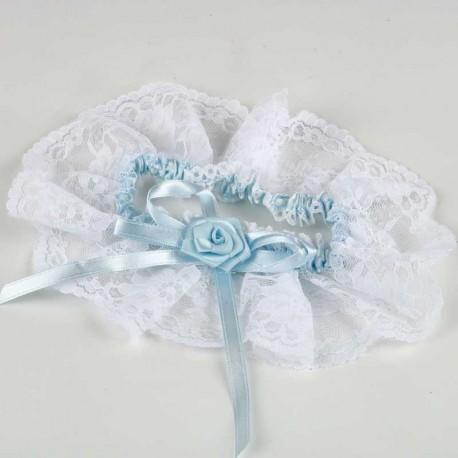 f10236143 Liga de novia con puntilla y cinta azul cielo