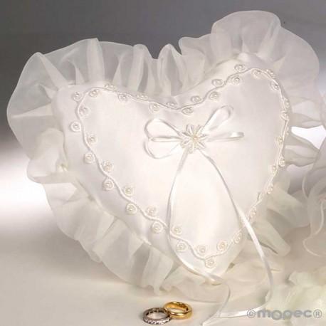 Cojín para las alianzas en forma de corazón, con perlitas marfil