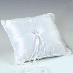 Cojín alianzas flores bordadas y perlitas en blanco