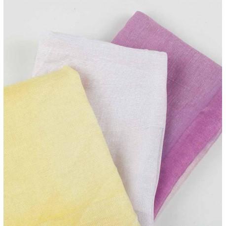 Pañuelo en 3 tonos, blanco, lila y amarillo