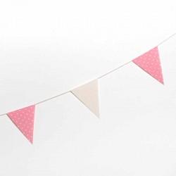 Guirnalda banderín tela marfil y rosa con topos