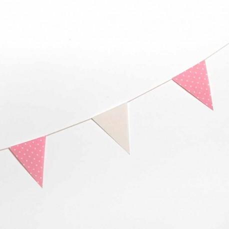 Guirnalda banderín tela marfil y rosa topos