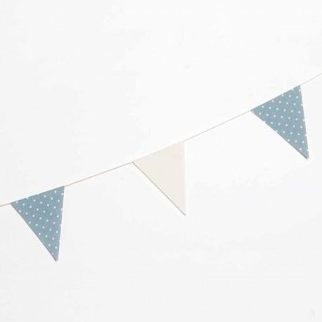 Guirnalda banderín tela marfil y azul con topos