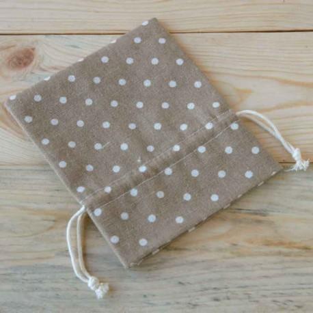Bolsa algodón marrón topos marfil