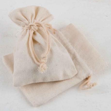 Bolsa de algodón pequeña en marfil 7,5 x 10 cm, para la presentación de los detalles para invitados
