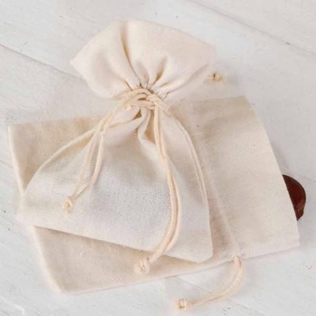 Bolsa algodón mediana en marfil, 10 x 40 cm.