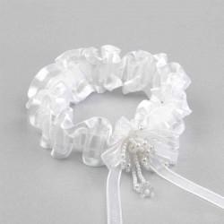 Liga novia blanca con perlitas