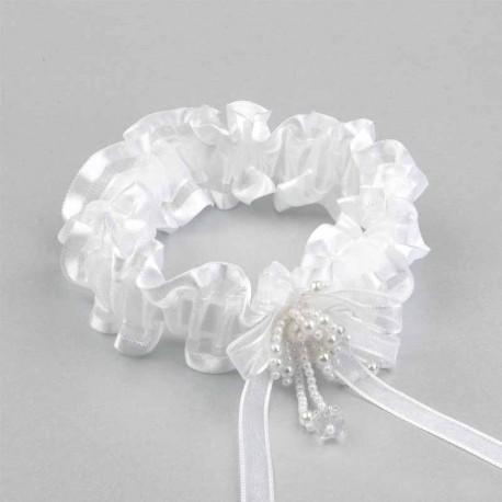 227012f9a Liga de novia blanca con perlitas