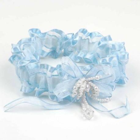 Liga para novia, de color azul cielo y con perlitas