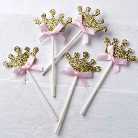 Pic corona dorada y lazo rosa para decorar cupcakes