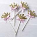 Pic corona dorada con lazo rosa decorar cupcakes