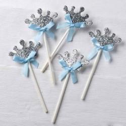 Pic corona plateada lazo azul decorar cupcakes