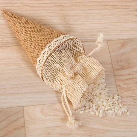 Bolsa cono en yute para rellenar con arroz o pétalos