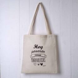 Bolsa de algodón con asas y mensaje