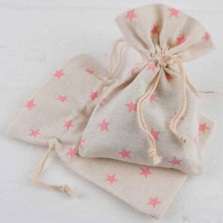 Bolsa de algodón mediana decorada con estrellas en rosa